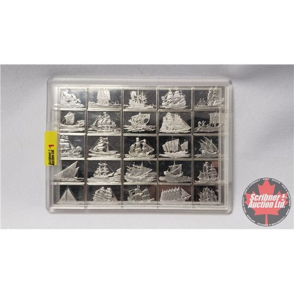 FRANKLIN MINT - Sterling Silver Ingot Set 1976: GREAT SAILING SHIPS OF HISTORY (Limited Edition 925/