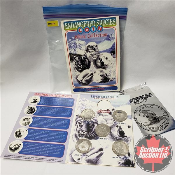 """Endangered Species COIN White Collection 1995 """"Go For Gold"""" (2 Collector Folders - Missing Gold Plat"""