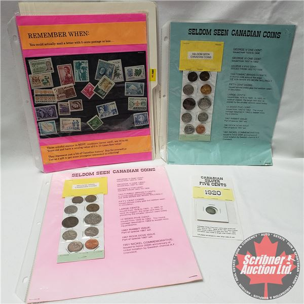 Collector created Displays - Coins & Stamps - Variety (See Pictures)