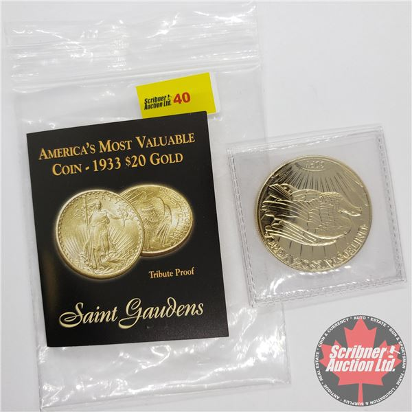America's Most Valuable Coin - 1933 $20 (24kt Gold Clad) Tribute Proof (Serial #225042) (The America