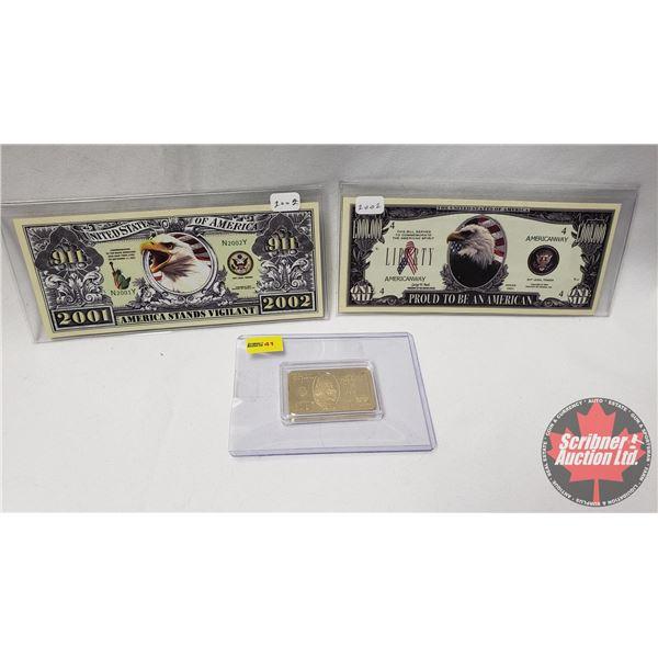Novelty Bills (2) : USA Million & 911 Bill + Replica of Gold Clad Bar