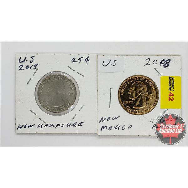 USA Quarters (2): 2013 New Hampshire & 2008 New Mexico Gold Plated