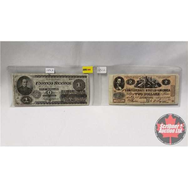 1862 Replica Bills : The Confederate States of America $2 Bill & United States $1 Bill