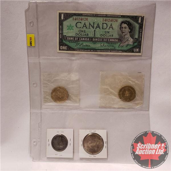 1967 Centennial Grouping : $1 Bill (Beattie/Rasminsky #SO4624626) + 2 Tokens in Mint Packages + Fift