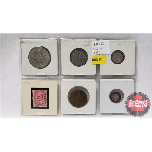 Canada 1910 Coin & Stamp Grouping (Large Cent, Five Cent, Ten Cent, Twenty Five Cent, Fifty Cent) +