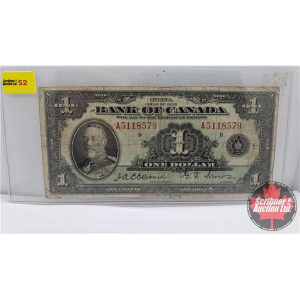 Bank of Canada 1935 $1 Bill : Osbourne/Towers #A5118579