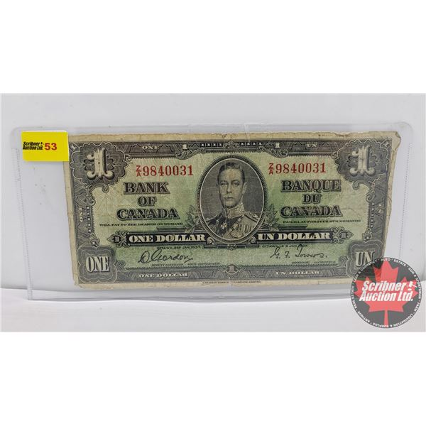Canada $1 Bill 1937 : Gordon/Towers #ZA9840031