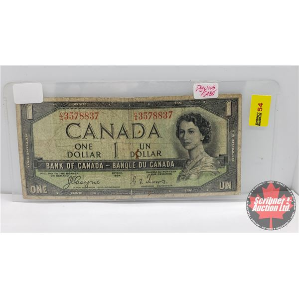 Canada $1 Bill 1954DF : Coyne/Towers #CA3578837