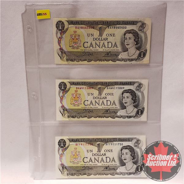 Canada $1 Bills (3) 1973 (See Pics for Signatures/Serial Numbers)