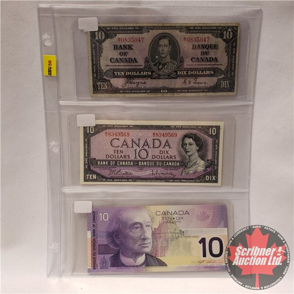 Canada $10 Bills - Variety (3 Bills) (1937; 1954; 2001) (See Pics for Signatures/Serial Numbers)
