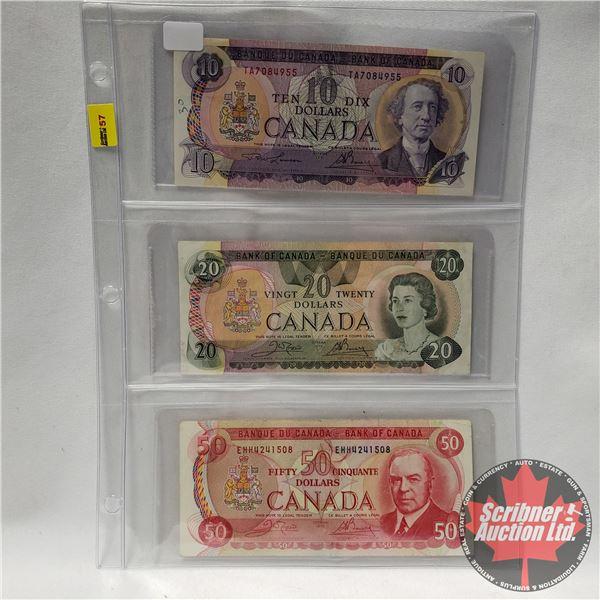 Canada Bills - Variety (3 Bills) (1971 $10 Bill ; 1979 $20 Bill ; 1975 $50 Bill) (See Pics for Signa