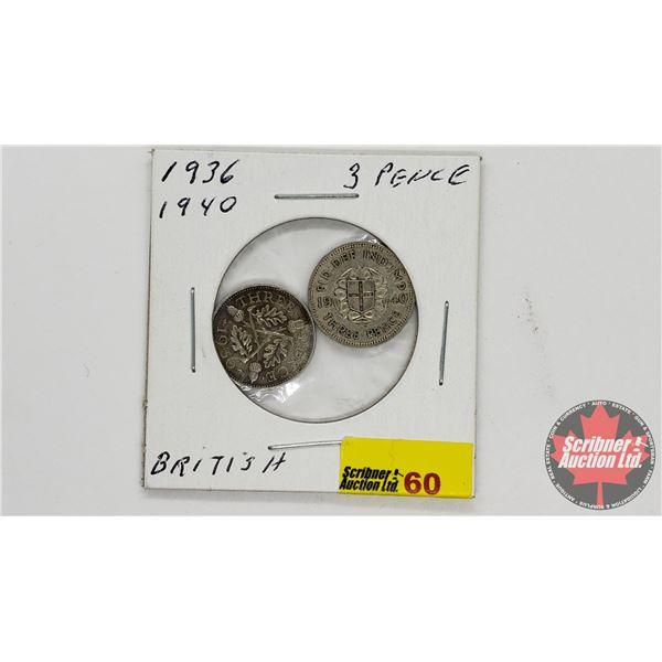 British 3 Pence (2): 1936 & 1940