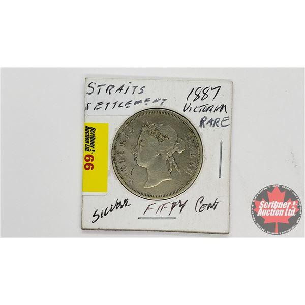 Straits Settlements Fifty Cents 1887 Queen Victoria