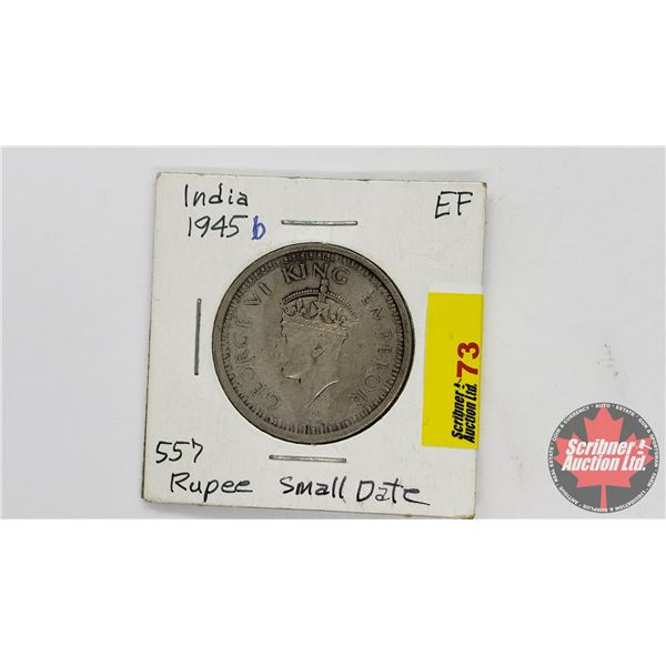 One Rupee India 1945 King Emperor George VI