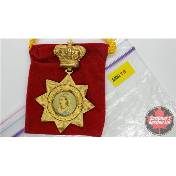 Medal Pin : To Commemorate the Diamond Jubilee of the Reign of Queen Victoria 1837-1897 (with Red Ma