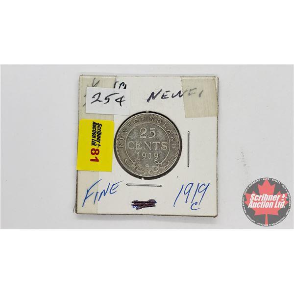 Newfoundland Twenty Five Cent 1919C