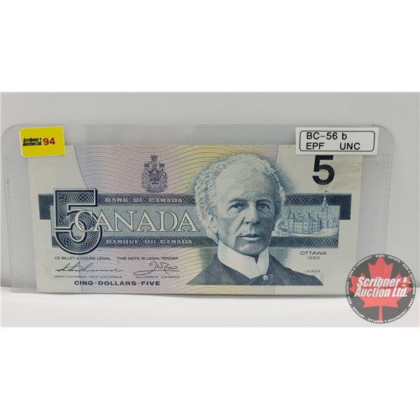 Canada $5 Bill 1986 : Thiessen/Crow #EPF4053070