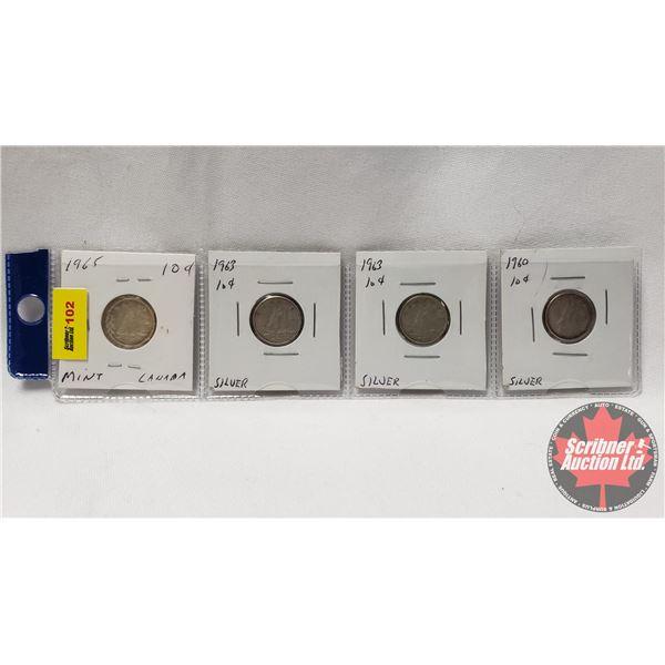 Canada Ten Cent - Strip of 4: 1965 Mint; 1963; 1963; 1960