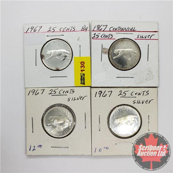 Canada Twenty Five Cents (4) Centennial 1967