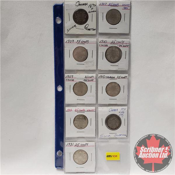 Canada Twenty Five Cent (9): 1872H; 1907; 1909; 1910; 1909; 1910; 1912; 1931; 1931