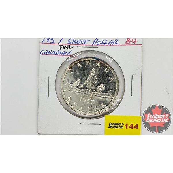 Canada Silver Dollar 1957FWL