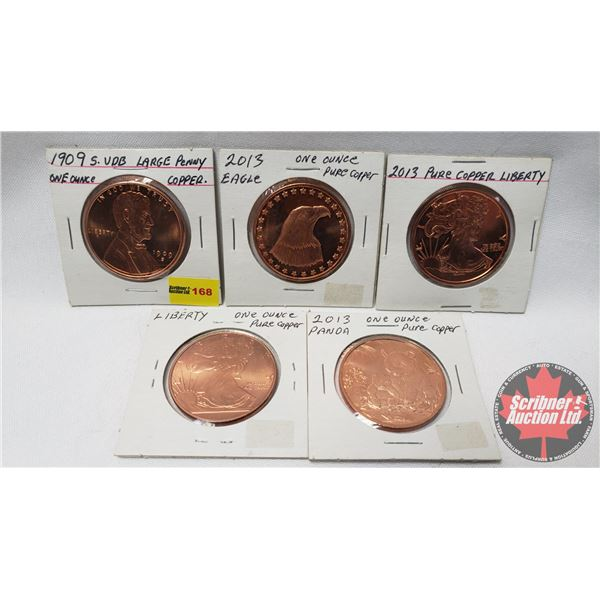 USA Large (One Ounce) Copper Penny Collection (5) (See Pics for Varieties)