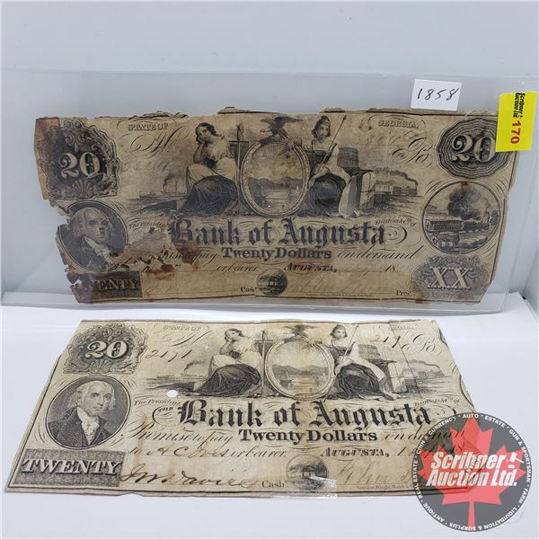 Bank of Augusta Twenty Dollar Bills 1858 (2 Bills) (Note: One Bill Missing Part) (See Pics for condi