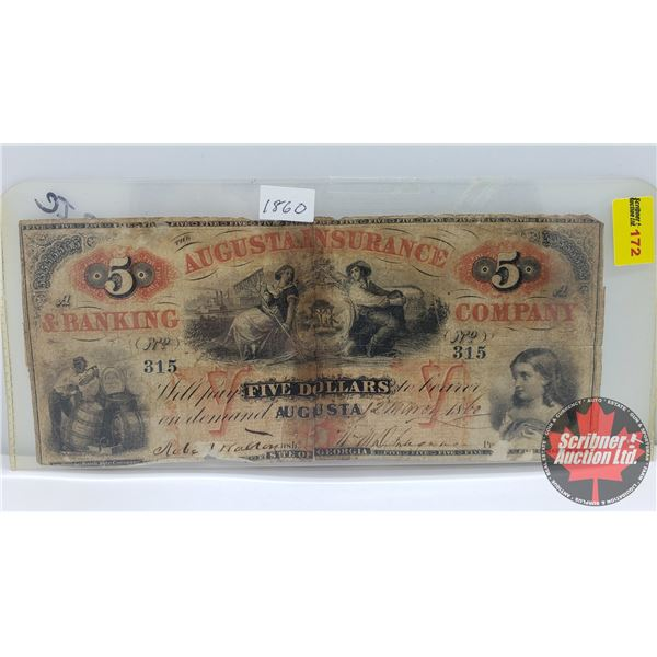 Augusta Insurance & Banking Company Five Dollar Bill No. 315 (See Pics for conditions, Serial Number