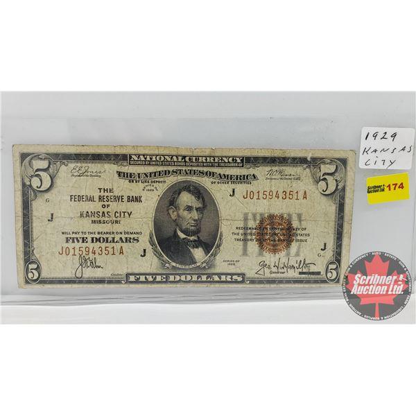 USA $5 Bill 1929 (S/N#J01594351A)