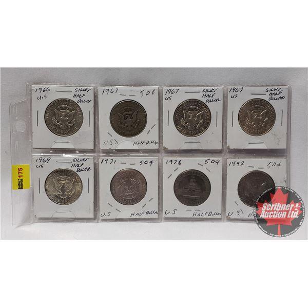 USA Half Dollars (8) : 1966; 1967; 1967; 1967; 1969; 1971; 1976; 1992