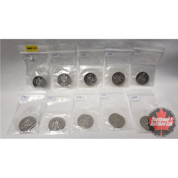 Canada Fifty Cents in Mint Packaging (10) : 1968; 1974; 1977; 1978; 1979; 1980; 1982; 1983; 1985; 19