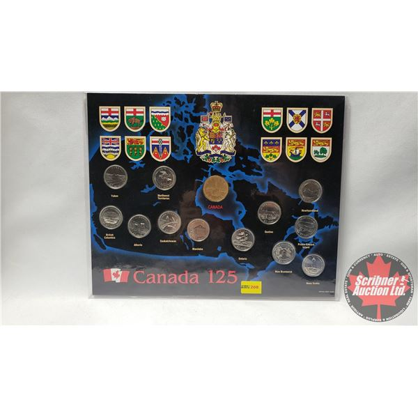 Canada 125 Collector Coin Card (1 Loonie & 12 Quarters)