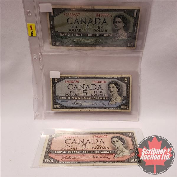 Canada Bills 1954 (3) : $1 ; $2; $5 (See Pics for Signatures/Serial Numbers)