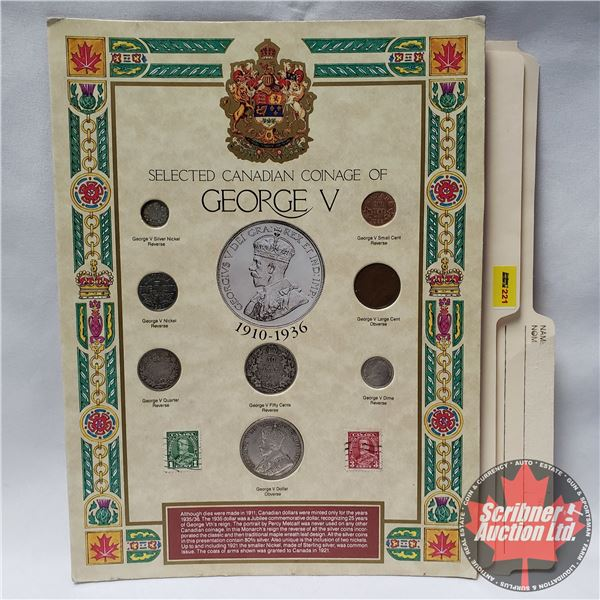 Selected Canadian Coinage of George V on Collector Card 1910-1936