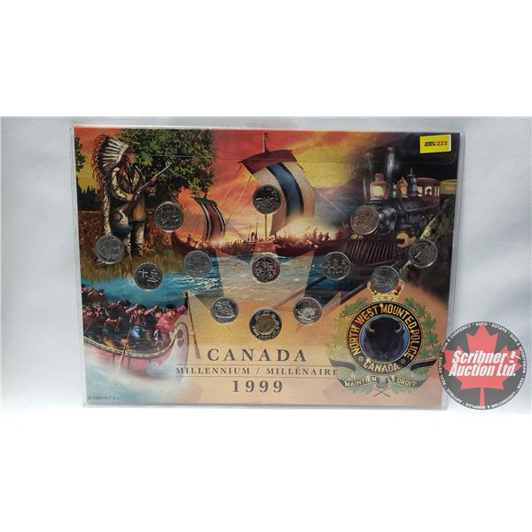 Canada Millennium 1999 Coin Set on Collector Card (Toonie + 12 Quarters)