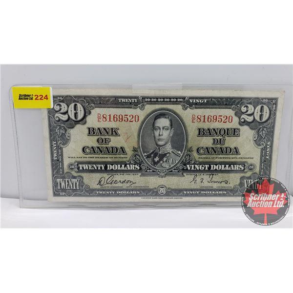 Canada $20 Bill 1937 : Gordon/Towers #DE8169520