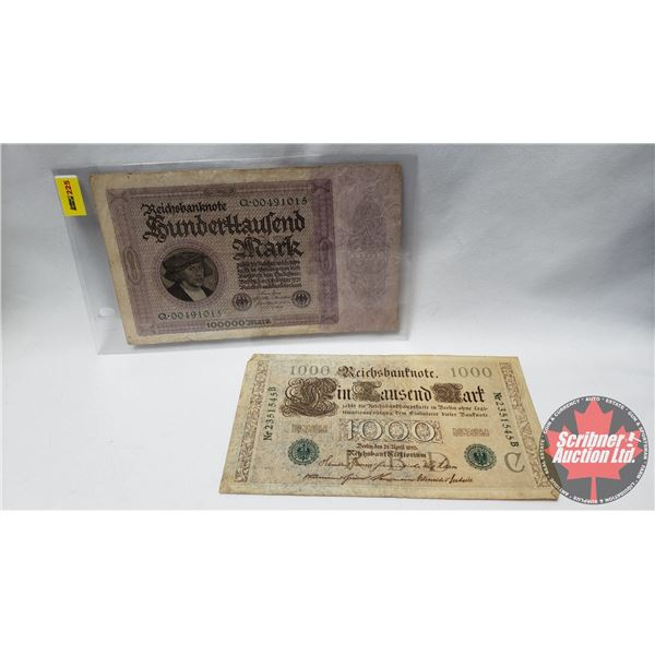 Reichsbanknote 1000 Sunderttaulend Mark 1923 (See Pics for Signatures/Serial Numbers)