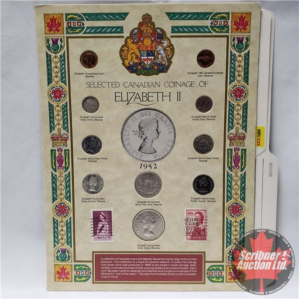 Selected Canadian Coinage of Elizabeth II on Collector Card 1952