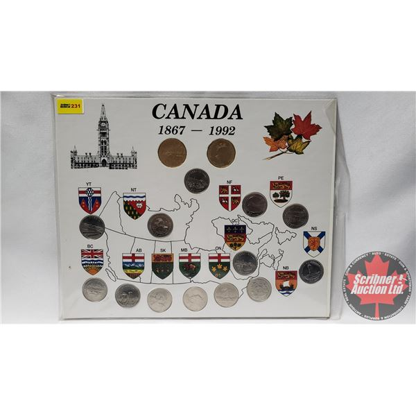 Canada 1867-1992 Coin Collector Card (2 Loonies + 13 Quarters)