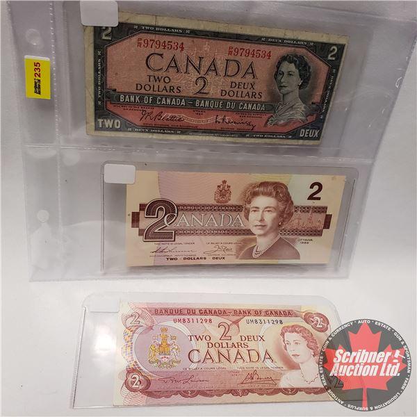Canada $2 Bills (3 Varieties) : 1954; 1974; 1986 (See Pics for Signatures/Serial Numbers)