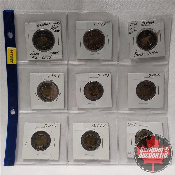Canada Toonies (9) 1998; 1998; 1999; 1999; 2005; 2006; 2012; 2014; 2014