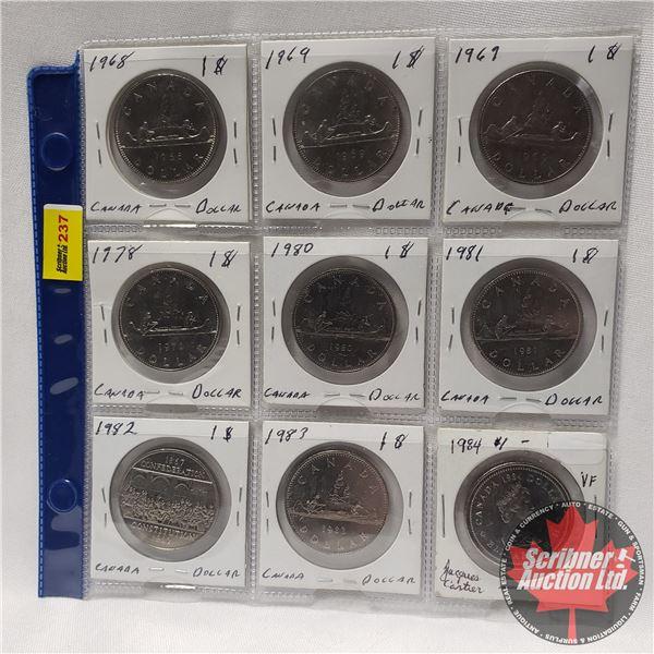 Canada Silver Dollars (9) : 1968; 1969; 1969; 1978; 1980; 1981; 1982; 1983; 1984