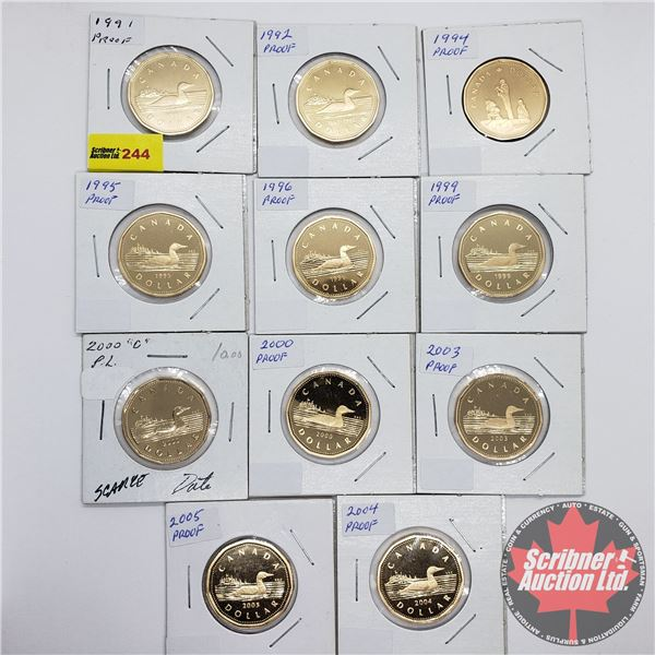 Canada Loonie Proofs (11): 1991; 1992; 1994; 1995; 1996; 1999; 2000; 2000; 2003; 2004; 2005