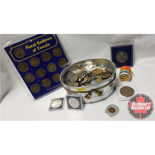 Very Large Token Collection in Small Galvanized Tub (Must See Pics!!!) + Floral Emblems of Canada /