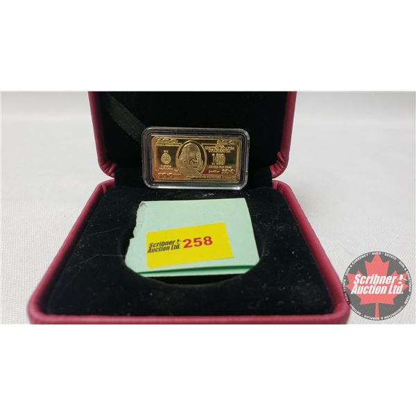United States of America .100 mils / Five Grams Gold Plated Bar