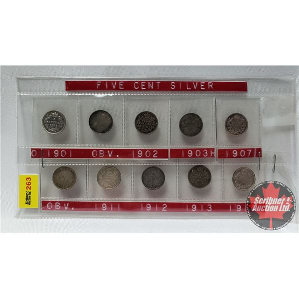 Canada Five Cent Collection (10) : 1901; 1903; 1902; 1903H; 1907; 1918; 1911; 1912; 1913; 1914