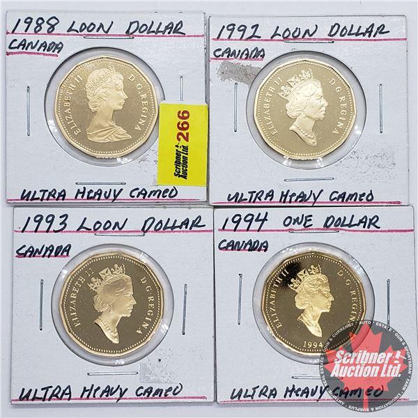 Canada Loon Dollars - Heavy Cameo (4): 1988; 1992; 1993; 1994