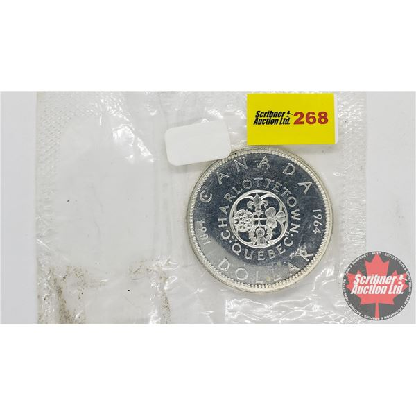 Canada Silver Dollar 1964 No Dot (Coin in RCM Package - Small opening in corner)