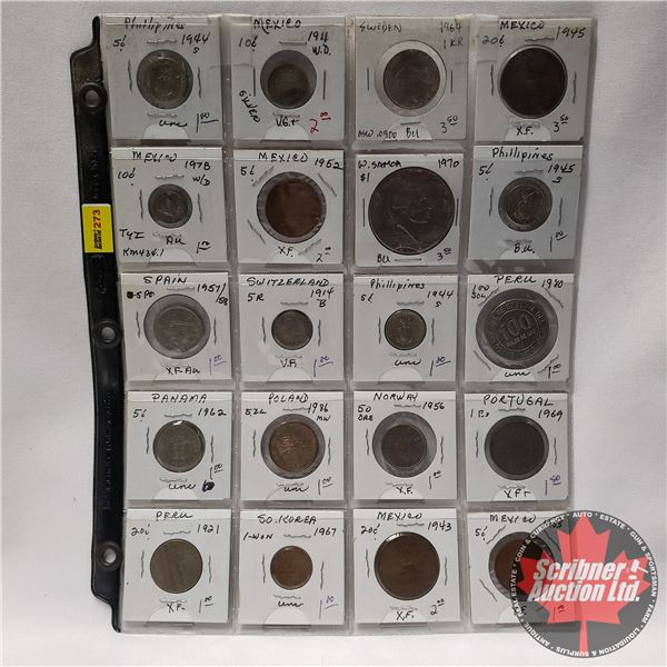Sheet of Foreign Coins (20): Variety Countries/Years (Philippines, Peru, Norway, Mexico, Poland, etc