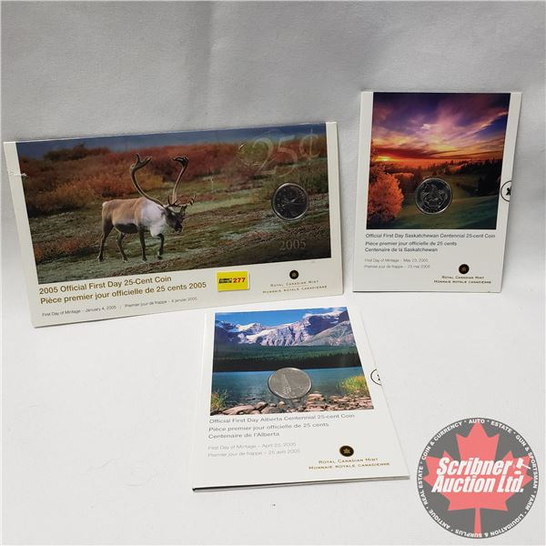 RCM Twenty Five Cent First Day Mintage Issues (3) Unopened : Official First Day Caribou ; Saskatchew